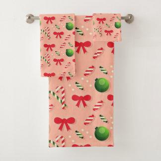 クリスマスツリーの装飾パターン バスタオルセット