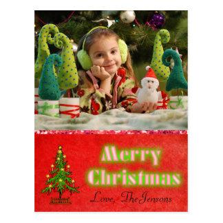 クリスマスツリーの郵便はがきの名前入りな赤 ポストカード