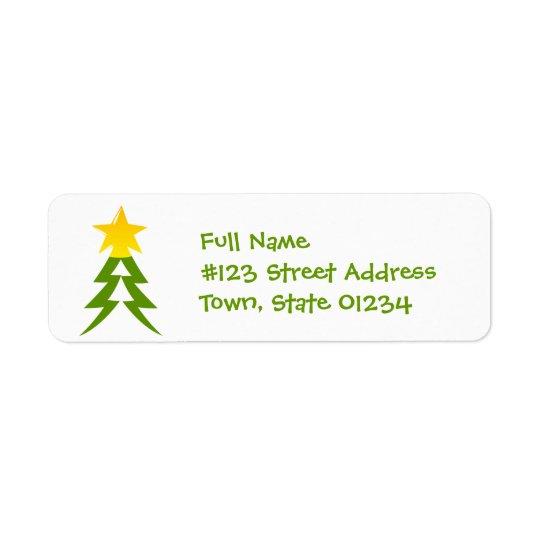 クリスマスツリーの郵送物のラベル 返信用宛名ラベル