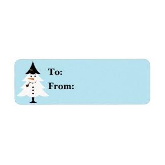 クリスマスツリーの雪だるまのギフトLables ラベル