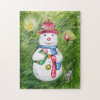 クリスマスツリーの雪だるまのパズル ジグソーパズル