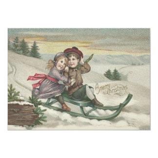 クリスマスツリーの雪の冬をSledding子供 カード