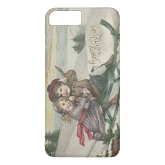 クリスマスツリーの雪の冬をSledding子供 iPhone 8 Plus/7 Plusケース