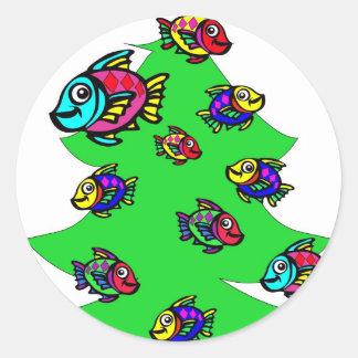 クリスマスツリーの魚 ラウンドシール