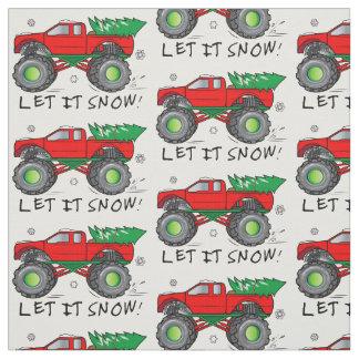 クリスマスツリーを強く引くモンスタートラック: それ割り当てられる雪が降るため! ファブリック