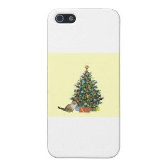 クリスマスツリーを持つシャム猫 iPhone 5 CASE