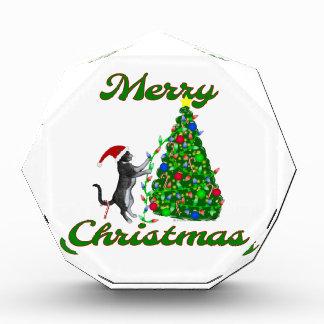 クリスマスツリーを飾っている猫 表彰盾