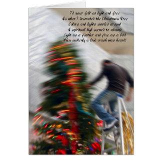 クリスマスツリーを飾っている間落下 グリーティングカード