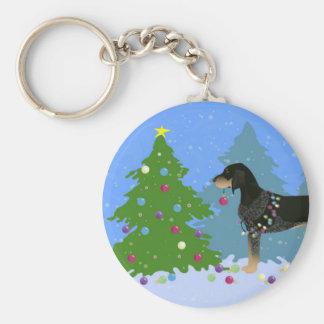 クリスマスツリーを飾っているBluetickのCoonhound キーホルダー