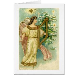 クリスマスツリーカードのハープとの天使 カード