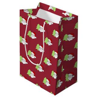 クリスマスツリーパターンが付いているサンタ ミディアムペーパーバッグ