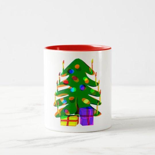 クリスマスツリーライトプレゼントの休日のマグのデザイン ツートーンマグカップ