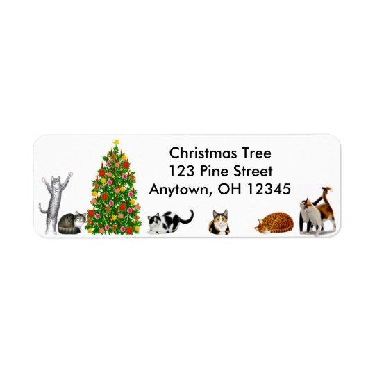 クリスマスツリー猫のラベル 返信用宛名ラベル
