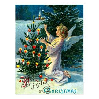 クリスマスツリー2を飾る天使 ポストカード