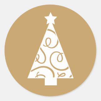 クリスマスツリー|の金ゴールド ラウンドシール