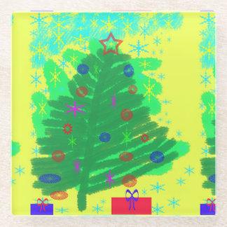 クリスマスツリー ガラスコースター