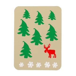 クリスマスツリー、トナカイ、雪片 マグネット