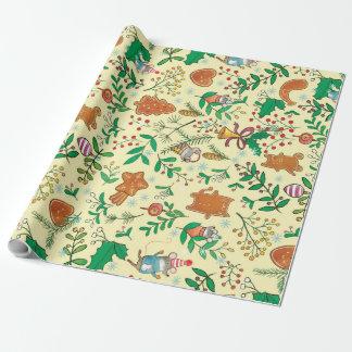 クリスマスツリー、ヤドリギおよびネズミの包装紙 ラッピングペーパー