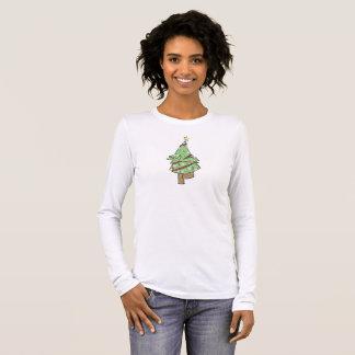 クリスマスツリー-ヨガの木の姿勢 長袖Tシャツ