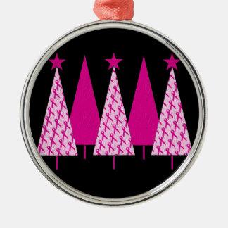 クリスマスツリー-乳癌のピンクのリボン メタルオーナメント