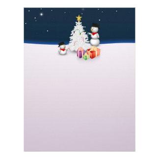 クリスマスツリー-文房具が付いているかわいい雪だるま レターヘッド