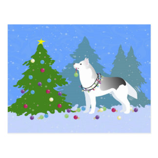 クリスマスツリー-森林--を飾っているシベリアンハスキー ポストカード