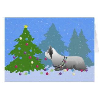 クリスマスツリー-森林--を飾っているSkyeテリア グリーティングカード