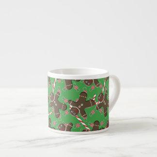 クリスマスパターン赤い緑のクッキーおよびキャンデー エスプレッソカップ