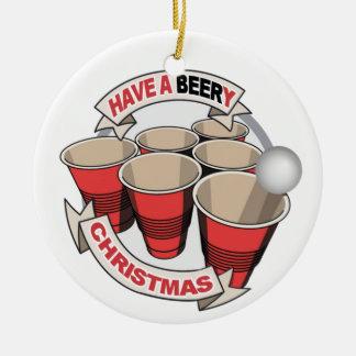 クリスマスビールPong Beery wの詩を持って下さい セラミックオーナメント