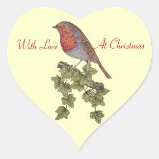クリスマスロビンおよびキヅタの葉の絵 ハートシール