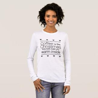 クリスマス及びコーヒーワイシャツ 長袖Tシャツ
