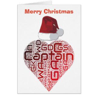 クリスマス愛ハートのネットボールのデザイン カード