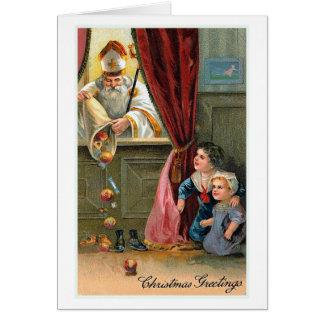"""""""クリスマス挨拶""""のヴィンテージのクリスマスカード カード"""