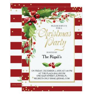クリスマス機能招待状-赤のストライプ カード