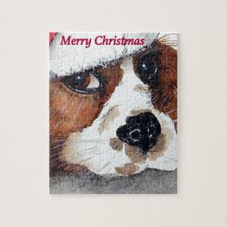 クリスマス犬はコッカースパニエルを梳きます ジグソーパズル