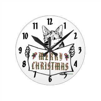 クリスマス犬:  メリークリスマス! ラウンド壁時計