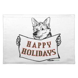 クリスマス犬:  幸せな休日! ランチョンマット