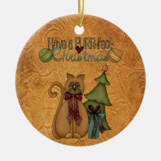 クリスマス猫ののどを鳴らす音fectのクリスマスのおもしろいのオーナメント セラミックオーナメント