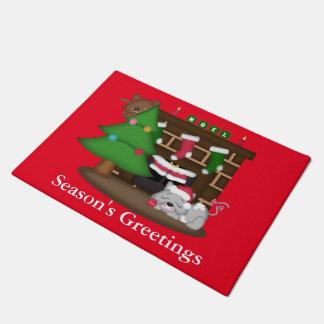 クリスマス猫の休日のおもしろいのドア・マット ドアマット