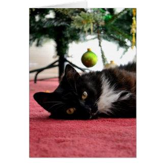 クリスマス猫の挨拶状 グリーティングカード