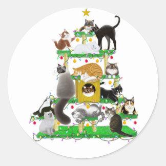 クリスマス猫の木のステッカー 丸形シール・ステッカー