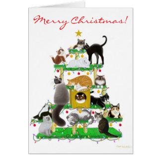 クリスマス猫の木の挨拶状 カード