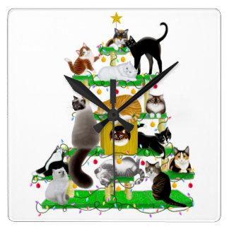 クリスマス猫の木の時計 スクエア壁時計