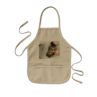 クリスマス猫-子ネコ猫-かわいい猫 子供用エプロン