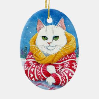 クリスマス白い猫のオーナメント セラミックオーナメント