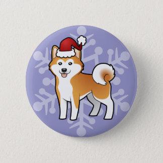 クリスマス秋田Inu/柴犬 5.7cm 丸型バッジ