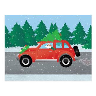 クリスマス車の赤いシベリアンハスキー ポストカード