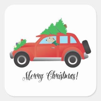 クリスマス車を運転しているアイリッシュ・ウルフハウンド スクエアシール