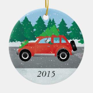 クリスマス車を運転しているシュナウツァー犬 セラミックオーナメント