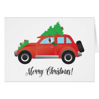 クリスマス車を運転しているSkyeテリア犬 グリーティングカード
